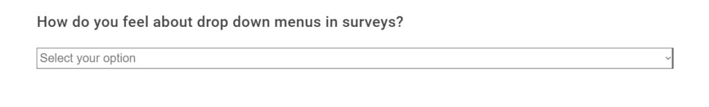 dropdown menu survey questions